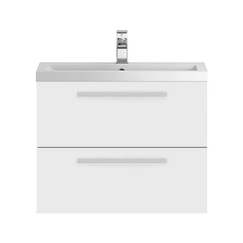 Hudson Reed Quartet White Gloss 720mm Wall Hung Cabinet & Basin